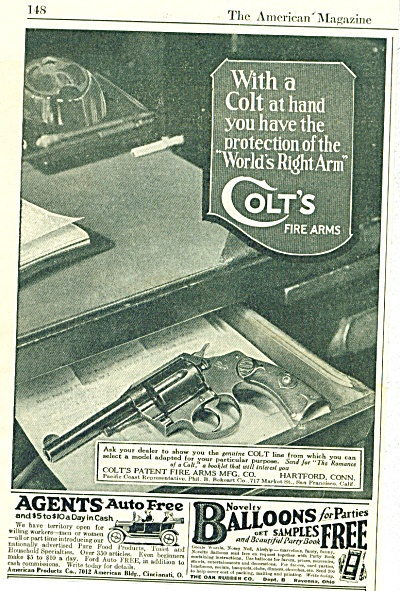 1922  COLT'S Fire Arms GUN AD World's Right A (Image1)