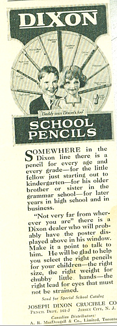 1922 Dixon School Pencils AD KIDS ARTWORK (Image1)