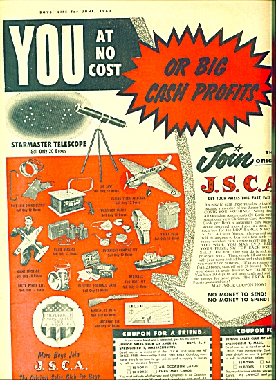 1960 Join J.S.C. A ad  EARN CASH Junior Sales (Image1)