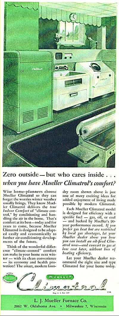 1947 Climatrol Furnace  Ad VINTAGE DESIGN (Image1)