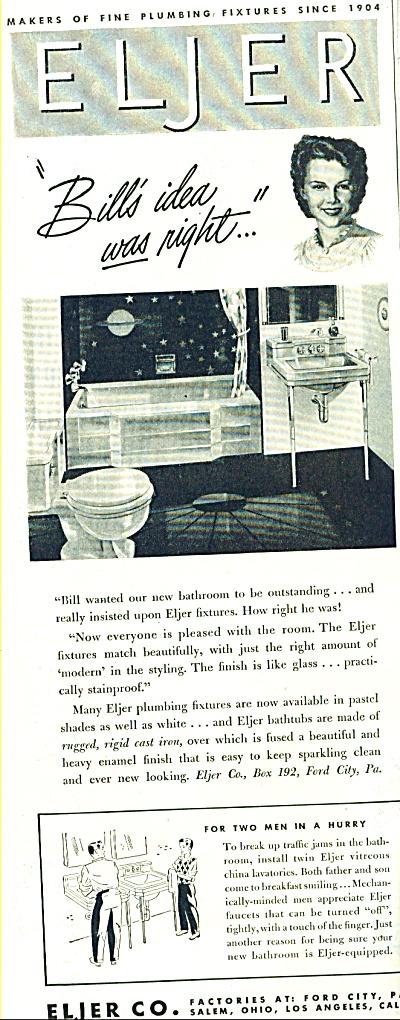 1947 Eljer Plumbing Fixtures AD VTG DESIGN (Image1)