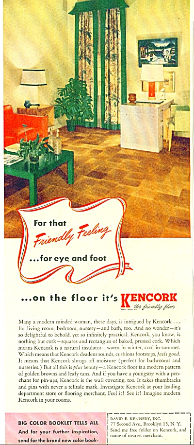 1947 Kencork Floor Tile AD Great RETRO Design (Image1)