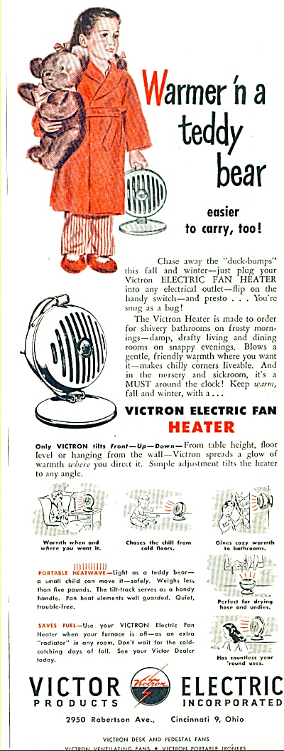 1947 Victor Electric Heater AD GIRL w/ TEDDY (Image1)
