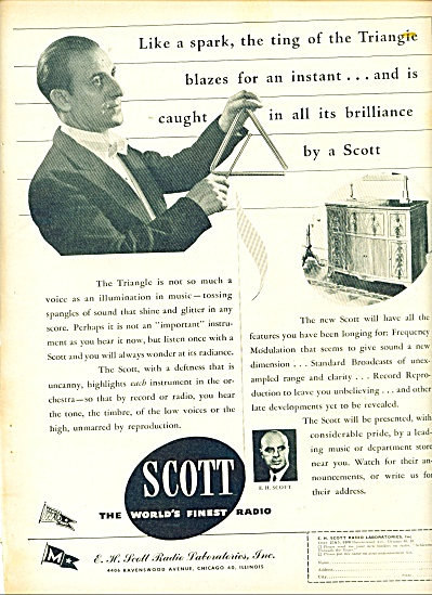 1945 Scott Radio Ad Triangle Ting