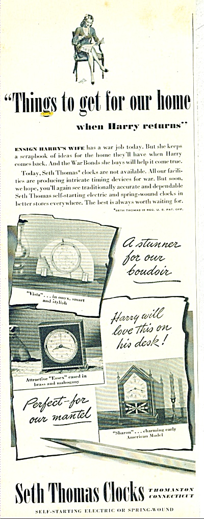 Seth Thomas Clocks Ad - June 1945