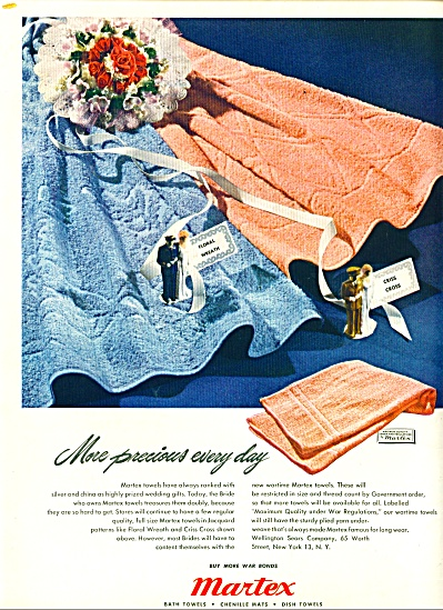 1945 Martex Towel AD WWII Military Wedding (Image1)