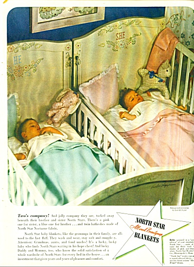 1945 North Star Blanket AD Twin BABY BOY GIRL (Image1)