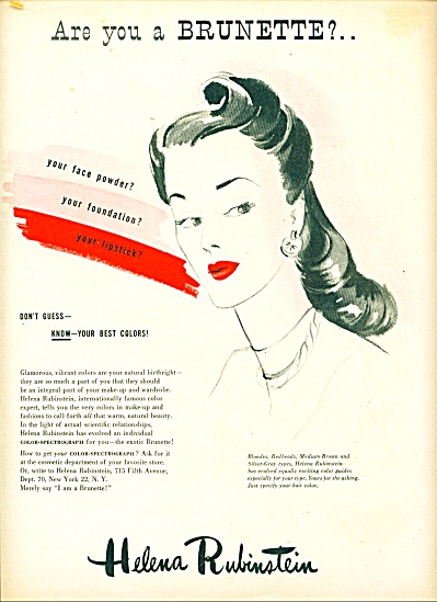 1945 HELENA RUBINSTEIN AD Artwork Woman (Image1)
