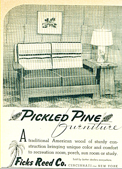 1945 PICKLED PINE Furniture AD Ficks Reed CO (Image1)