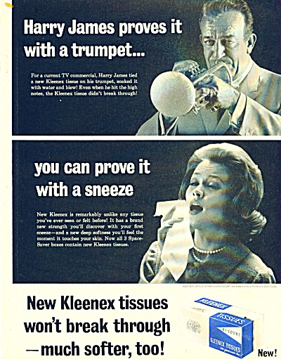 1964 HARRY JAMES Trumpet KLEENEX AD (Image1)