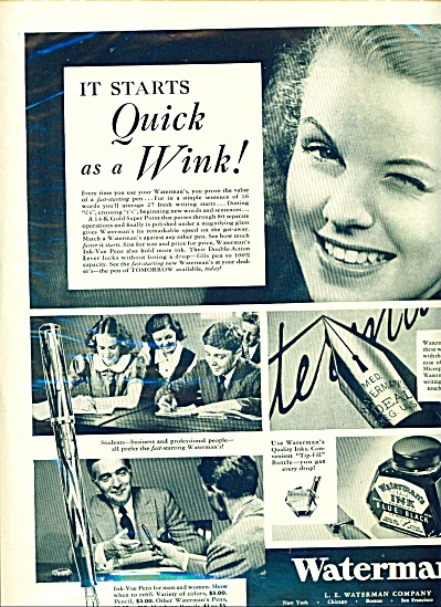 1937 Waterman's PEN AD Great Photo AD (Image1)