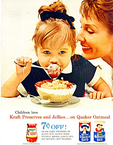 1962 QUICK Quaker Mother OATS AD Cute GIRL (Image1)