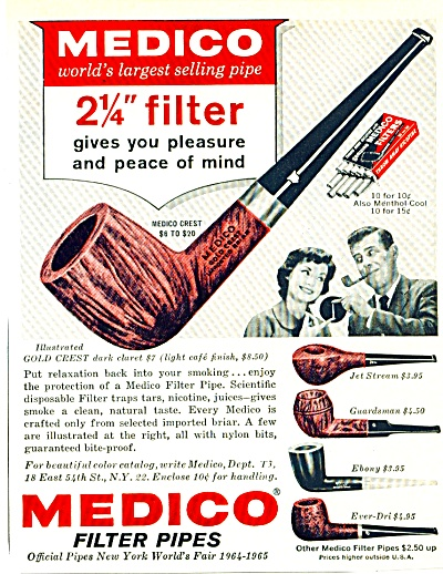 1964 Medico filter pipes AD  COOL PIPE Models (Image1)
