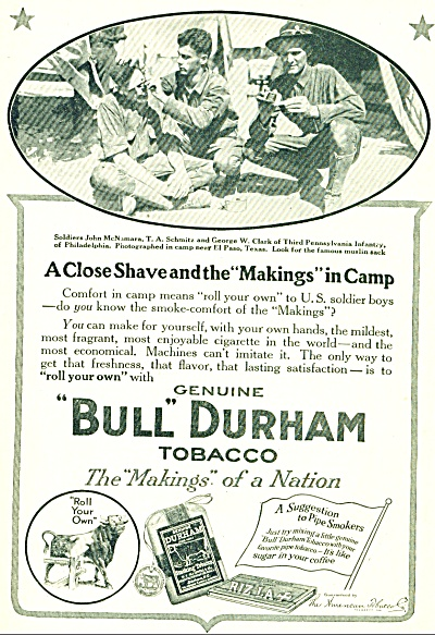 1910 s BULL DURHAM Tobacco ad 3rd PA INFANTRY (Image1)
