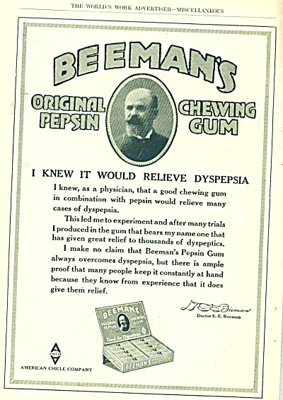 1917 Beeman's Chewing Gum Dyspepsia Ad