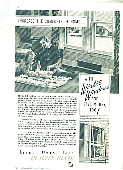 1937 LOF Libbey Owens GLASS AD Vintage Family (Image1)