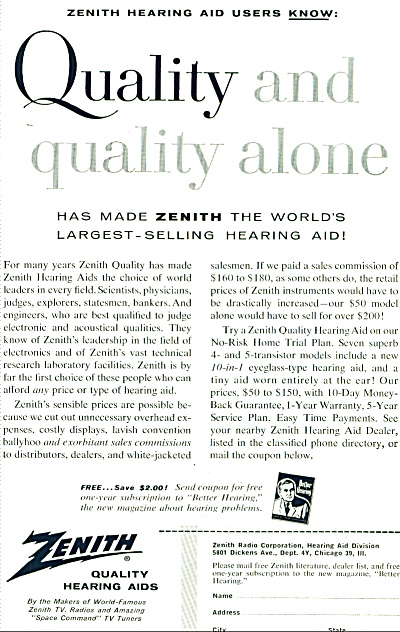 Zenith quality hearing aids - Jan. 1957 (Image1)