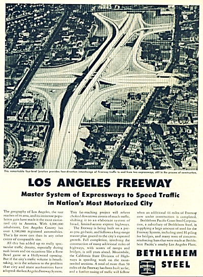 1951 Bethlehem Steel ad LOS ANGELES FREEWAY (Image1)