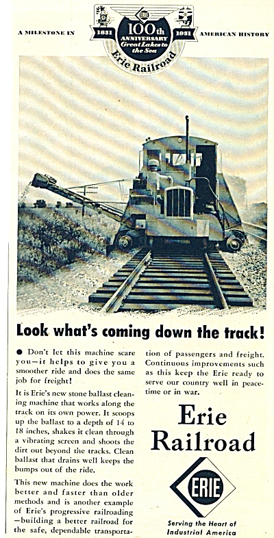 1951 Erie Railroad ad STONE BALLAST Cleaner (Image1)