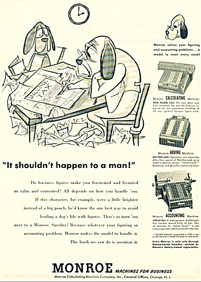 1951 Monroe Machines AD Calculator Adding +++ (Image1)