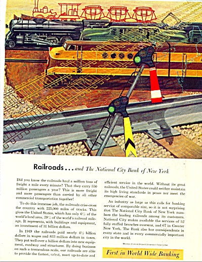 1951 National City Bank NY AD RAILROAD TRAIN (Image1)