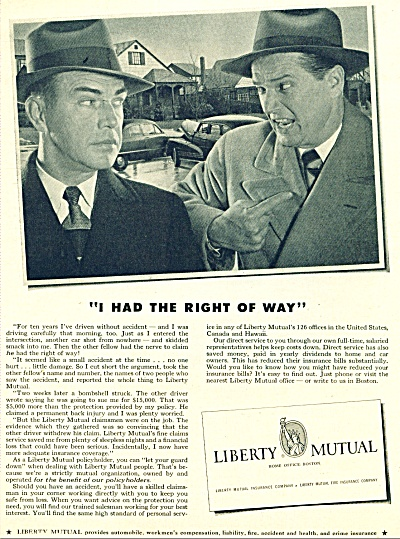 1951 Liberty Mutual Ins AD MEN FIGHT accident (Image1)