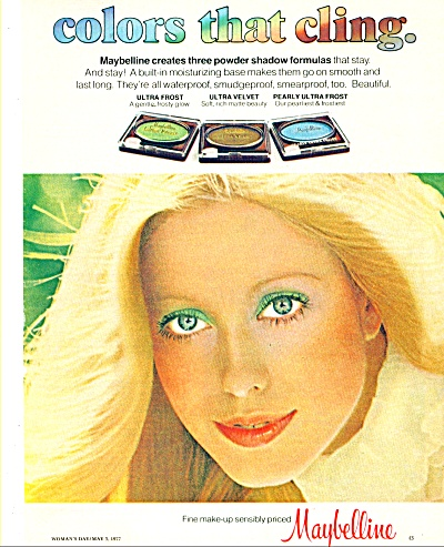 1977 MAYBELLINE AD Green Eyes BLONDE Model (Image1)