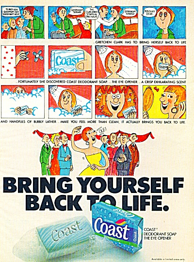 1977 COAST SOAP AD cartoon AD BRING LIFE (Image1)