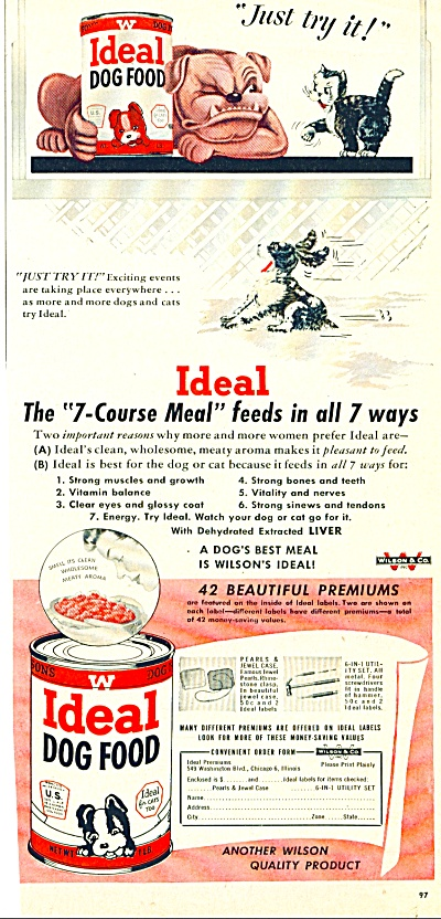 1950 IDEAL DOG FOOD AD Cartoon ART (Image1)