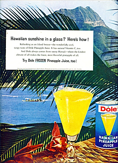 1960 Dole Hawaiian Pineapple juice ad (Image1)