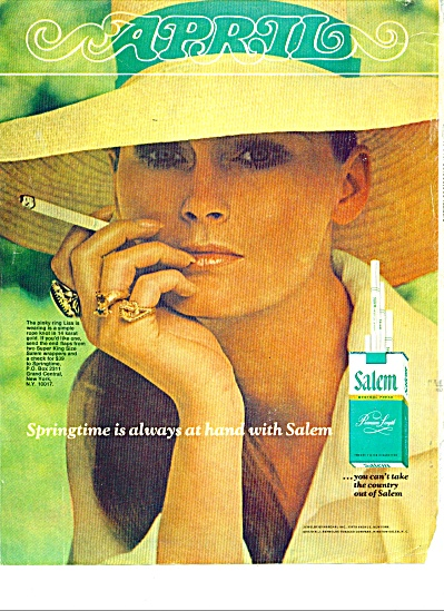 1970 Salem Cigarettes Ad Model Lisa #2