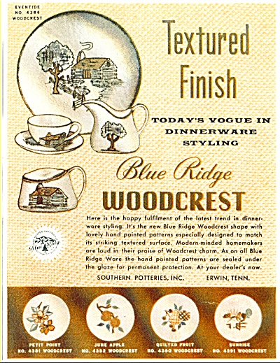 Blue Ridge Woodcrest dinnerware - Nov. 1953 (Image1)