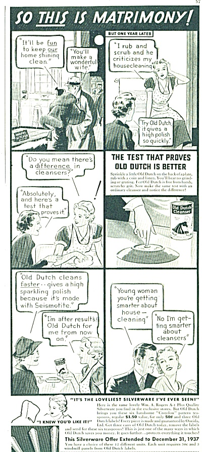 1937 Old Dutch Cleanser ad MATRIMONY CARTOON (Image1)