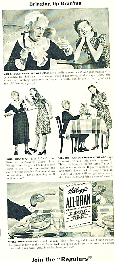 1941 All Bran Ad Natural Laxative Cereal