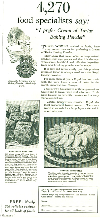 1928 Royal Baking Powder AD Cream Tartar (Image1)