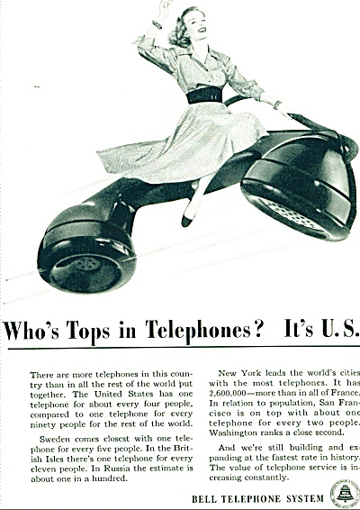1948 Bell Telephone AD TOPS in PHONES Lady (Image1)