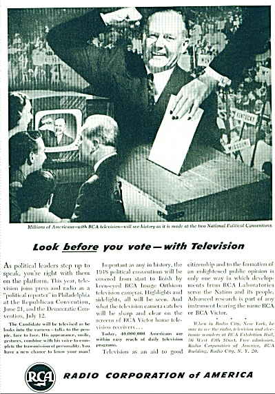 1948  RCA AD LOOK BEFORE YOU VOTE Conventions (Image1)