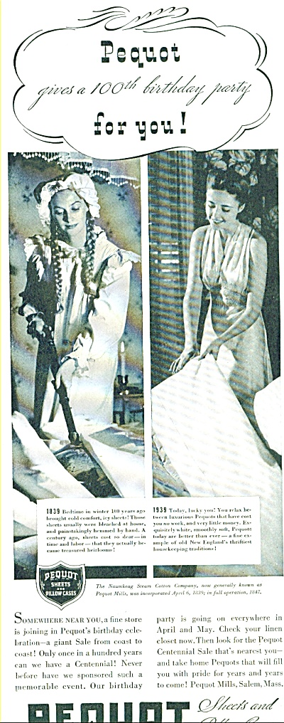 1939  Pequot Sheets Linen AD Photo Promo (Image1)