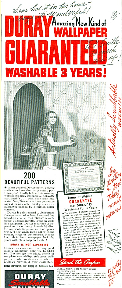 1939 Duray Scrubbable Wallpaper AD (Image1)