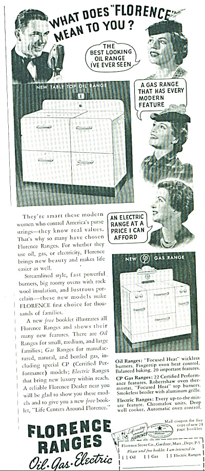 1939 Florence Range AD Oil Gas Electric Stove (Image1)