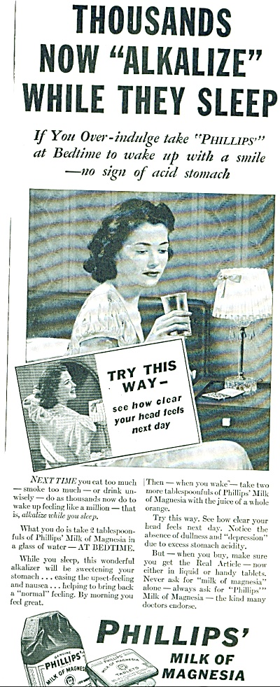 1939 Phillips Milk of Magnesia AD ALKALYZE (Image1)