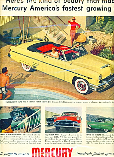 1954 Mercury V8 161 Hp Car Beauty Ad Ford