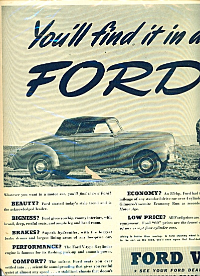 Vintage Ford V-8 Convertible 2 Seat CAR AD (Image1)