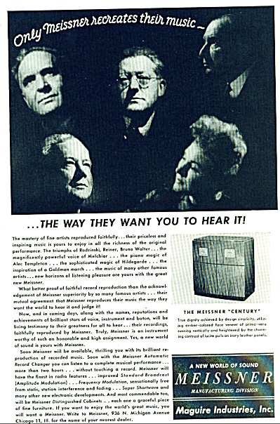 1946 Maguire MEISSNER Century Music AD (Image1)