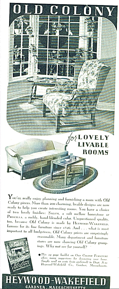 1938 Heywood Wakefield FURNITURE AD COLONY (Image1)