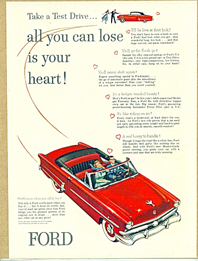 1953 FORD LOSE YOUR HEART Red CAR AD (Image1)