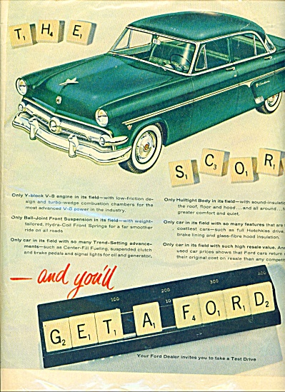 1954 Ford Car Ad Scrabble Game Blue