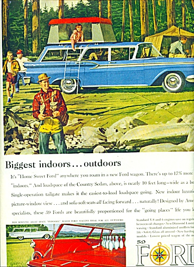 1959 FORD Wagon AD CAMPING TRIP ART (Image1)