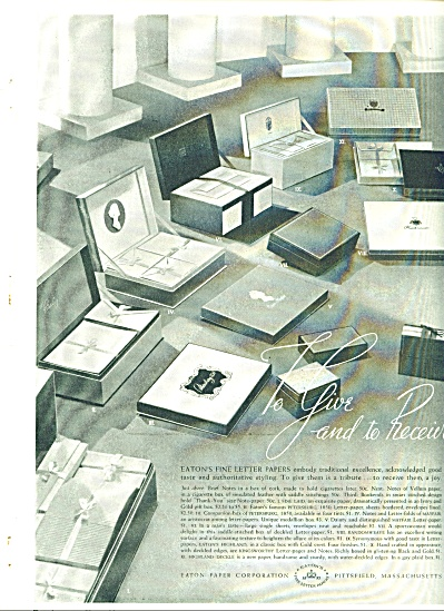 Eaton Paper Corporation ad - Nov. 1938 (Image1)