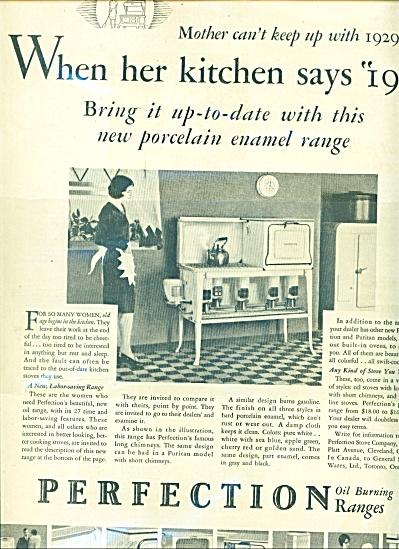 1929 Perfection OIL Stove RANGE AD Porcelain (Image1)